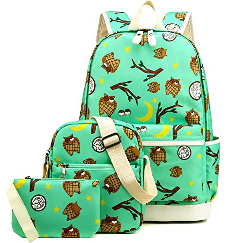 Kemy's Owl School Backpack for Girls Set 3 in 1 Cute Printed Bookbag 14inch Laptop School Bag for Girls Water Resistant Thanksgiving Day Christmas ()