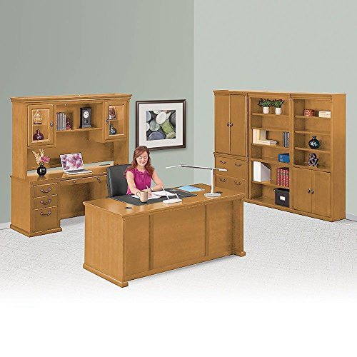 Wheat Oak Executive Office Suite Wheat Weight: 1771 lbs - Martin Furniture Oak Executive Desk