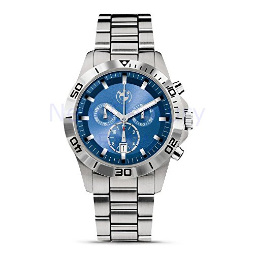 BMW Genuine Sport Chronograph Men Watch - Silver / Blue - Diameter 43 mm ()