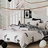 Black and White Star printing Microfiber Reversible 4 Pieces Queen Size Duvet Cover Set with Hidden Button (Queen, white and black stripe Stars ) , zebra