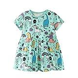 TMEOG Toddler Little Girls Short Sleeve Summer Dress Toddler Dinosaur Print Cotton Dress (B, 4T/4-5Years)
