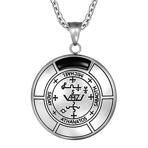 - Sigil of Archangel Michael Magic Medallion Angel Amulet Simulated Black Onyx Pendant 18 inch Necklace