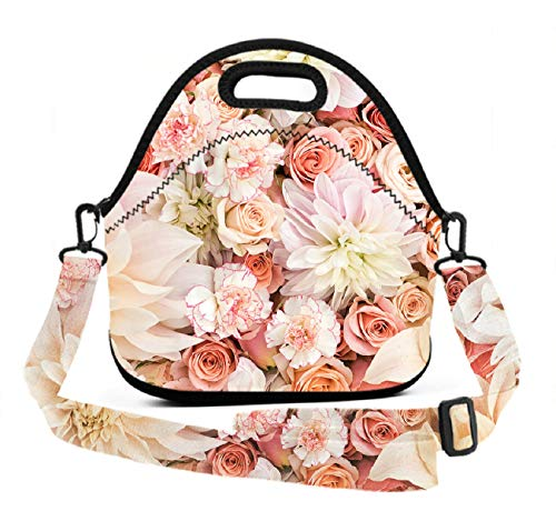 Neoprene Lunch Tote - Petal Roses Blush Pink - Reusable Insulated Thermal Lunch Bag Waterproof Lunch Box Carry Case Handbags with Zipper for School/Office/Travel/Gym