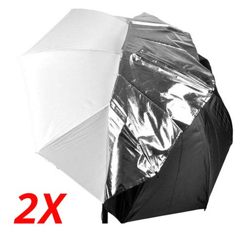 CowboyStudio 2x 40in White Satin Umbrella with Reflective Silver Backing and Removable Black Cover