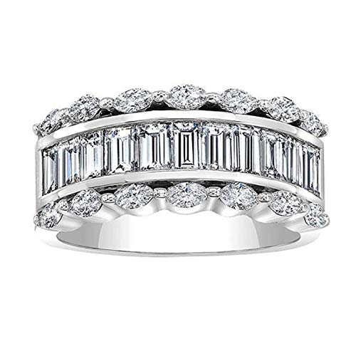 nanzhushangmao Diamond Ring Pave Diamond Ring 5/8 ct Lab Grown Diamond Engagement Rings for Women Lab Created Diamond Rings ()
