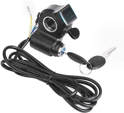 Universal E-Bike Digital Thumb Throttle LCD Display Battery Voltage Power Switch