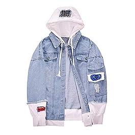 uei-123d Hooded Fashionable Denim Jacket Men 2019