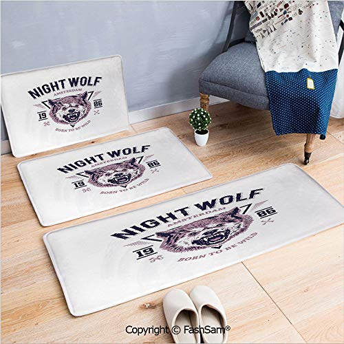 3 Piece Flannel Bath Carpet Non Slip Born to be Wild Angry Animal Vintage Grunge Illustration Roaring Savage Retro Decorative Front Door Mats Rugs for Home(W15.7xL23.6 by W19.6xL31.5 by W35.4xL62.9)