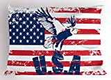 Ambesonne United States Pillow Sham, Grunge Looking American National Flag with Eagle and USA Artistic Print, Decorative Standard Queen Size Printed Pillowcase, 30 X 20 inches, Navy White Red