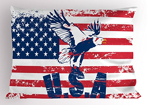 Ambesonne United States Pillow Sham, Grunge Looking American National Flag with Eagle and USA Print, Decorative Standard Queen Size Printed Pillowcase, 30 X 20, White Navy