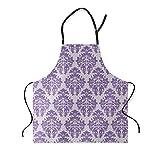 Apron European Style Purple Damask Wallpaper Decorative Pattern Kitchen Bib Apron Ideal for Cooking Dishwashing Cleaning Painting 26X31Inch