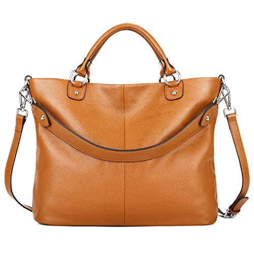 Kattee Women's Soft Genuine Leather 3-Way Satchel Tote Handbag Orange