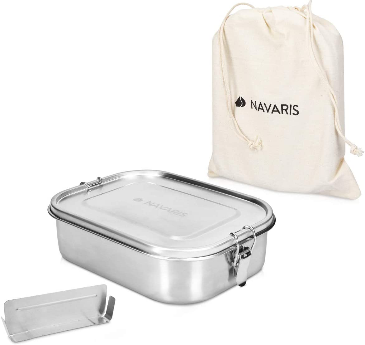 Navaris Fiambrera de Acero Inoxidable para Comida - Envase hermético con Separador y Tapa - Recipiente Rectangular de 1400 ML - Lunch Box de Metal