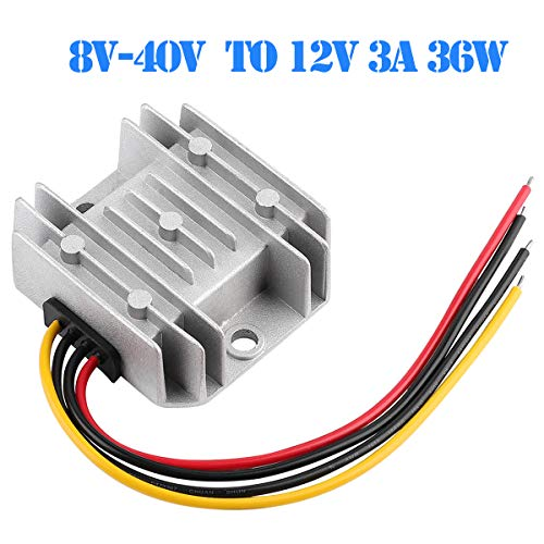 DC Voltage Converter Automatic Buck Boost Converter DC 8V-40V to 12V 3A 36W Step Down Up Regulator Waterproof Module Transformer for Golf Cart Club Car