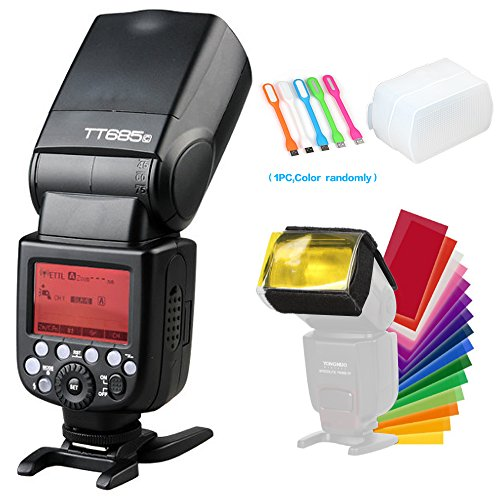 Godox TT685C TTL  2.4GHz GN60 High Speed Sync 1/8000s Flash Speedlite Light Compatible for Canon Cameras E-TTL II auotflash +Diffuser & Filter +USB LED