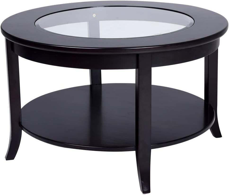 - Phoenix Home Coventry Round Wood Coffee Table With Glass Inlay