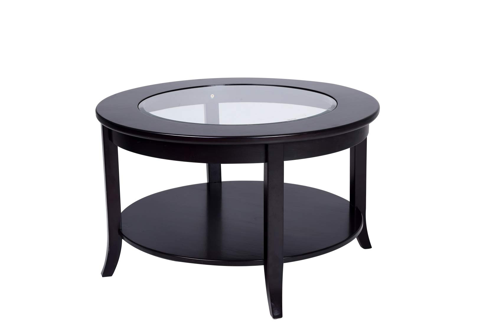 Phoenix Home Coventry Round Wood Coffee Table with Glass Inlay, Earthy Espresso by Phoenix Home