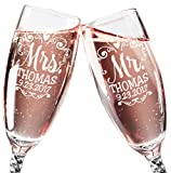Mr Mrs Wedding Reception Celebration Twisty Stem Champagne Glasses Set of 2 Couples Newlywed Married Gift Groom Bride Husband Wife Anniversary Engraved CLEAR Flute Glass Favors (Personalized)