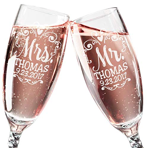 Mr Mrs Wedding Reception Celebration Twisty Stem Champagne Glasses Set of 2 Couples Newlywed Married Gift Groom Bride Husband Wife Anniversary Engraved CLEAR Flute Glass Favors (Personalized) -