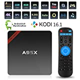 [2nd Generation]NEXBOX A95X Plus Android 6.01 TV Box Powered by Newest Amlogic S905X 64Bit Quad-core CPU with Penta-core GPU VP9 4K 60FPS Kodi 16.1 Pre-installed, Support 2.4G WiFi(1G,8G)