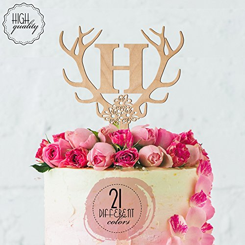 Personalized Cake Topper For Wedding, Engagement, Birthday, Sweet 16 Customized Cake Topper Antler Initial | Wooden Cake Toppers for $<!--$16.95-->
