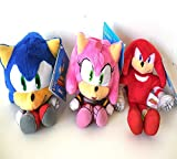 Sega Sonic The Hedgehog X Sonic Knuckles and Amy 3 Plush Doll Set 6 - 8 Inches.