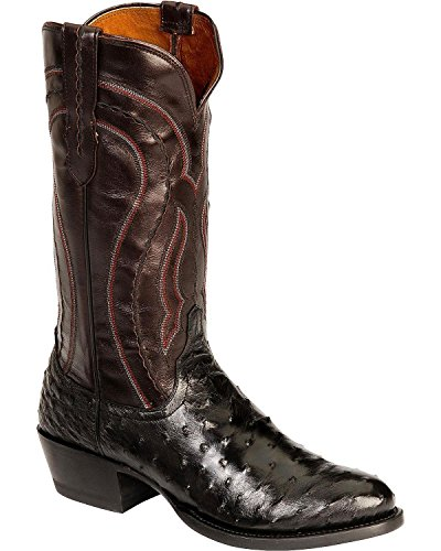 1883 Full Quill - Lucchese Men's Handmade 1883 Full Quill Ostrich Montana Cowboy Boot Medium Toe Black 10.5 EE US