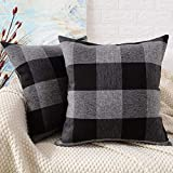 MERNETTE Pack of 2, Plaid Cotton Linen Square Decorative Throw Pillow Cover Cushion Covers, Pillowcase Pillow Shams, for Sofa Bedroom Car Chair 18x18 Inch/45x45 cm (Plaid Black+Grey)