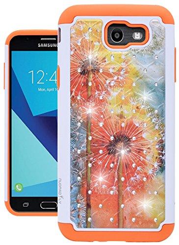 for Samsung Galaxy J7 V / J7 2017 / J7 Prime / J7 Perx / J7 Sky Pro/Galaxy Halo Case, Nuomaofly [Creative] Studded Rhinestone Crystal Bling Hybrid Armor Protective Case Cover (Dandelion)