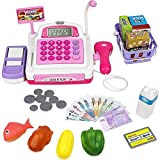 YZWJ Simulation Supermarket Combination Toy Cash Register with Realistic Action and Sound (Pink) Children's Toy Gift [Energy Class A]