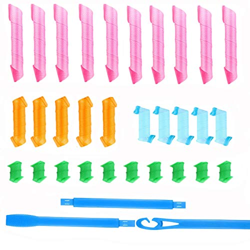 Monyus 30 Pieces Magic Hair Curlers Spiral Curls Styling Tools Kit, No Heat Hair Curlers Hair Rollers with 3 Section…