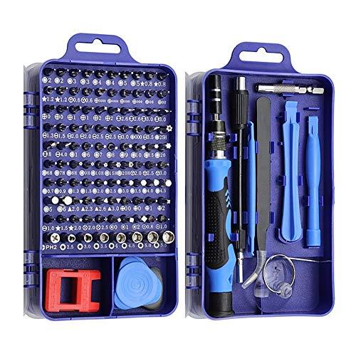 25分の115で1ドライバーセットミニ精密ドライバーマルチコンピュータPC、携帯電話装置の修理INSULATEDハンドホーム工具 (Color : Blue 115 in 1)
