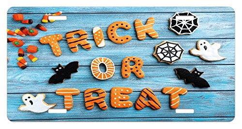 Lunarable Halloween License Plate, Fresh Trick or Treat Gingerbread Cookies on Blue Wooden Table Spider Web Ghost, High Gloss Aluminum Novelty Plate, 5.88 L X 11.88 W Inches, -