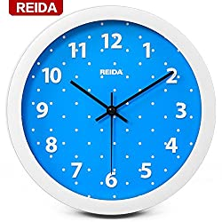 Quietness @ Modern Colorful Creative Silent Non-ticking Wall Clock Round Green Salad /8 inch/ blue dot
