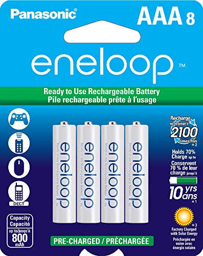 (Panasonic BK-4MCCA8BA eneloop AAA 2100 Cycle Ni-MH Pre-Charged Rechargeable Batteries, 8 Pack)