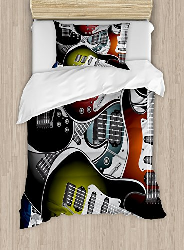 Popstar Party Duvet Cover Set Twin Size by Ambesonne, Pile of Graphic Colorful Electric Guitars Rock Music Stringed Instruments, Decorative 2 Piece Bedding Set with 1 Pillow Sham, (Party Twin Bedding)