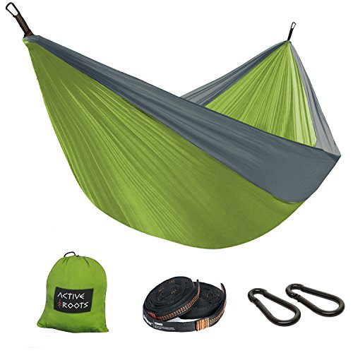 Active Roots Camping Hammock – Lightweight Portable Parachute Nylon Hammock for Backpacking, Travel, Beach, Yard Hammock Gear (Ropes and Carabiners) Included! (Green/Grey)
