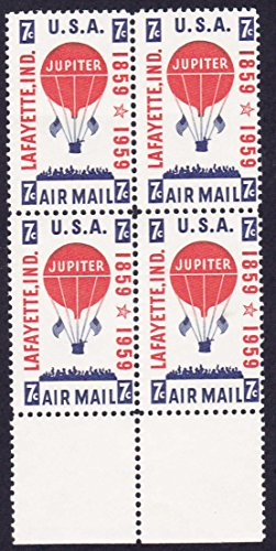 1959 JUPITER BALLOON #C54 Airmail Plate Block of 4 x 7 cents US Postage - Mail Postage Us Air Stamps