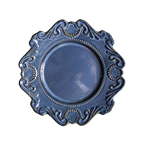 Embossed Soup - zeWAN Baroque ceramic tableware dish Western dish plate salad bowl soup bowl White glazed embossed vine series