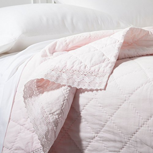 - Simply Shabby Chic Linen/Cotton Blend Crochet Trim QUILT - FULL/QUEEN QUILT