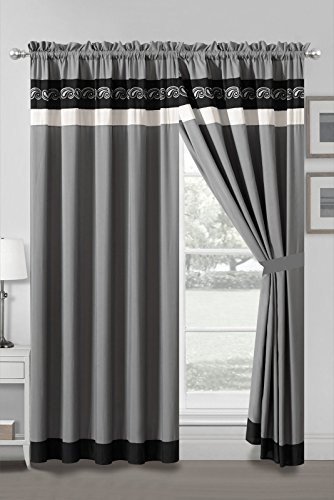 HGS 4-Pc Landry Floral Scroll Paisley Embroidery Stripe Curtain Set Black Gray Silver Sheer Liner (Floral Scroll Stripe)