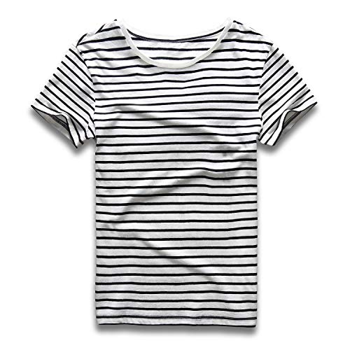 Zecmos Striped T Shirt for Men Crew Neck Slim Fit Stripe Tee Cotton Top 434-Black White XL