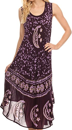 (Sakkas B900 Moon and Stars Batik Caftan Tank Dress/Cover Up - Purple - One Size)