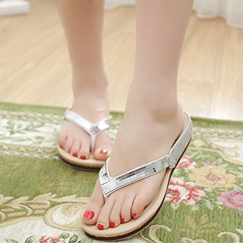 Shoes silvery Thick Skidproof Flops Sequins Flip Outside Travel Heel Outdoor Beach Bottom Slope Foot KPHY S8q6I