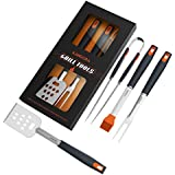 KANGORA BBQ Grill Tools Set with 4-Piece Barbecue Accessories Premium Heavy Duty Stainless Steel Starter Grilling Utensils Tool Kit – Spatula, Tongs, Fork, and Basting Brush (4 Piece Set)