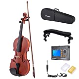 ammoon 3/4 Natural Acoustic Violin Fiddle Spruce Steel String with Case Arbor Bow Stringed Instrument for Music Lovers + 3-in-1 Digital Tuner Metronome Tone Generator + Violin Shoulder Rest