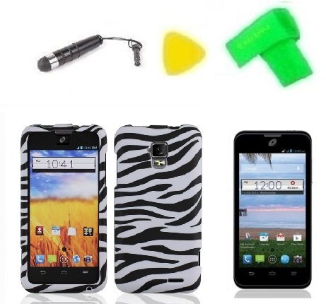 Zebra-Design-Hard-Case-Phone-Cover-Extreme-Band-Stylus-Pen-LCD-Screen-Protector-Yellow-Pry-Tool-for-Straight-Talk-Tracfone-ZTE-Unico-LTE