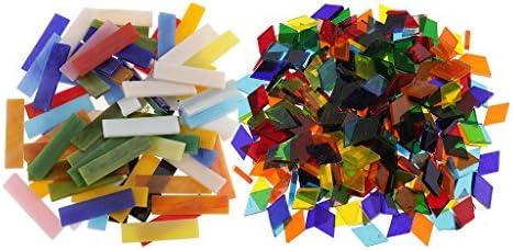 dailymall 320個の長方形と菱形のShapesガラスモザイクタイルテセラアートDIY工芸品マルチカラー混合10x40m