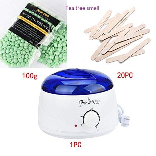 Perman Hair Removal Pearl Wax Set, 1 PCS Wax Warmer Machine + 20 PCS Wax Wiping Sticks + 100g / 3.5 oz Pearls Wax (Tea Tree Smell) Black