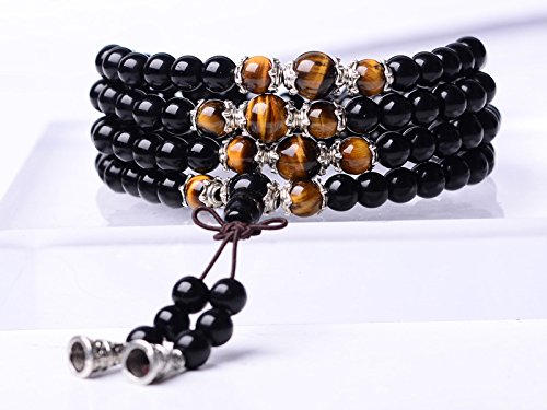 Tiger Eye Crystal Gemstone Bracelet Tibetan Buddhist Buddha Meditation 108 Obsidian Prayer Bead Mala (Bracelets Beads)